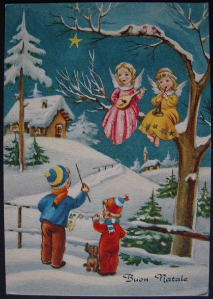 Buon Natale cartolina auguri anni cinquanta bn022  Collezione OnLine