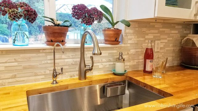 DIY Kitchen Remodel Undermount sink and orchids