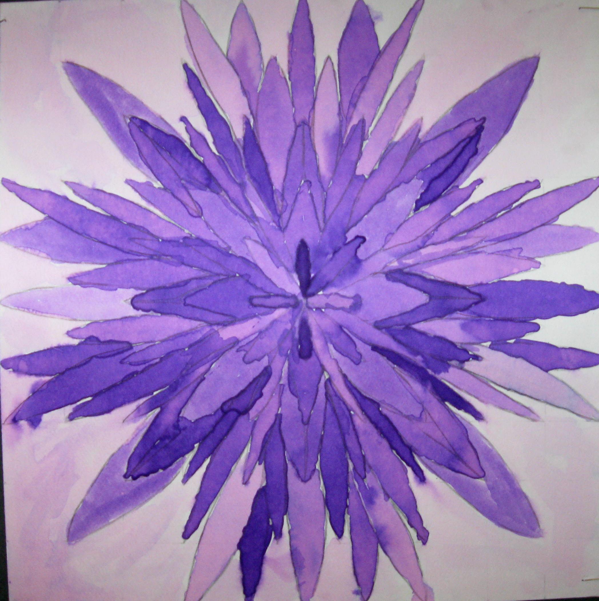 7th Grade Geometric monochromatic watercolor paintings