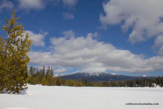 Hosmer Lake covered in snow.