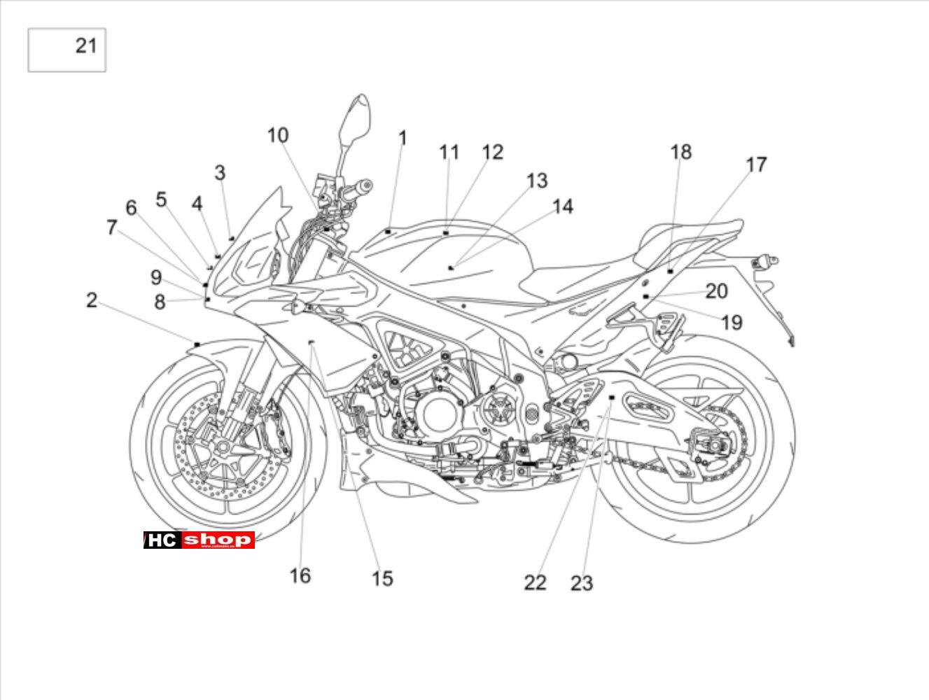 Aprilia Tuono V4 1100 RR E4 ABS Rahmen u. Aufbau Deko