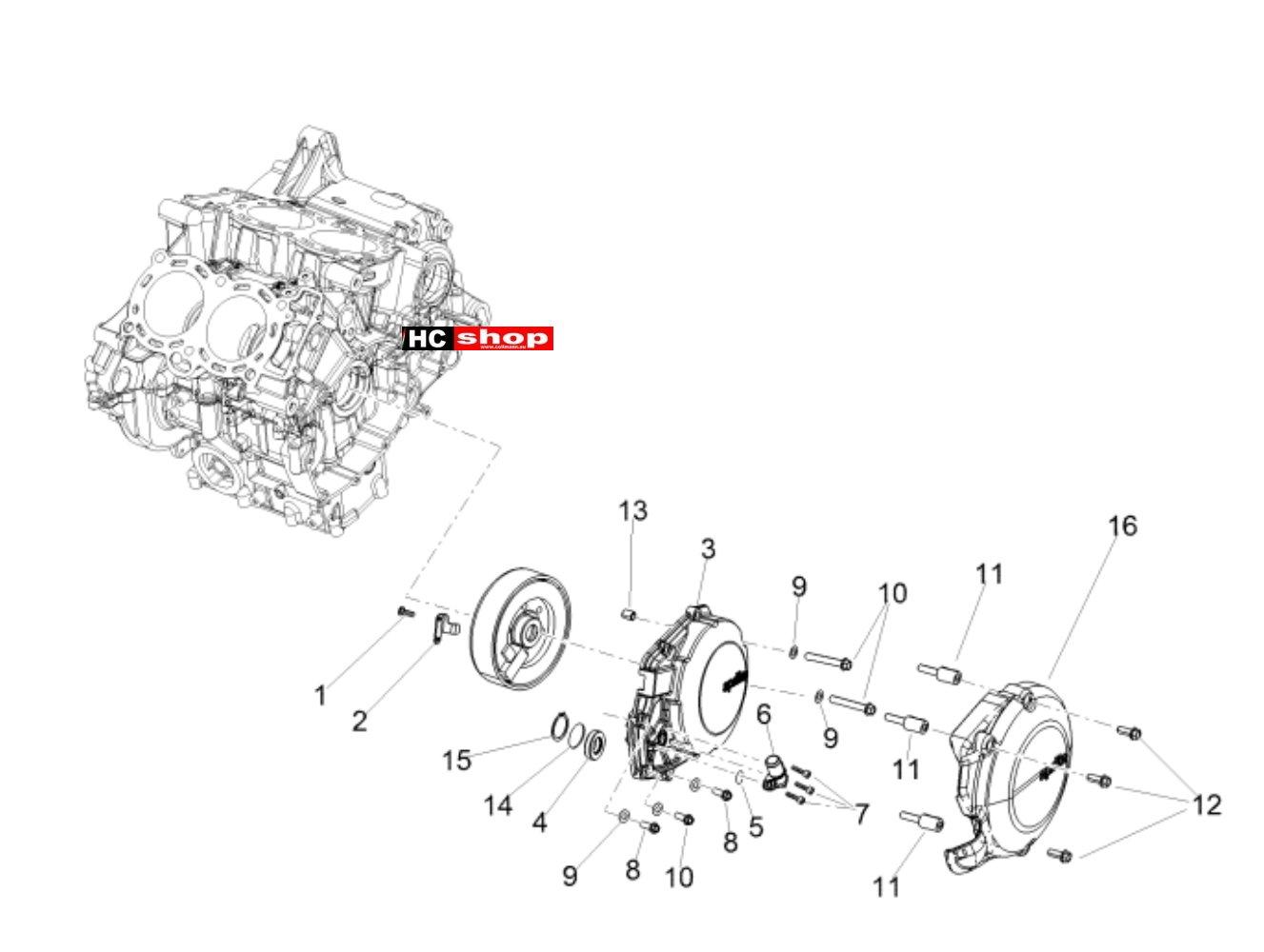 Aprilia Tuono V4 1100 Factory E4 ABS Motor Zünderdeckel