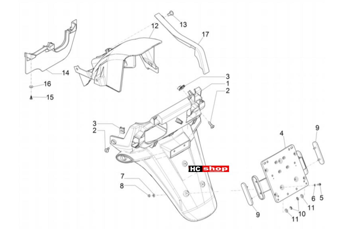 Piaggio MP3 350 Sport E4 ABS Fahrgestell Hinterabdeckung