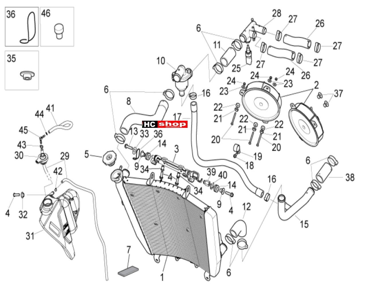 Aprilia Tuono V4 1100 RR E4 ABS Kühlanlage Kühlanlage