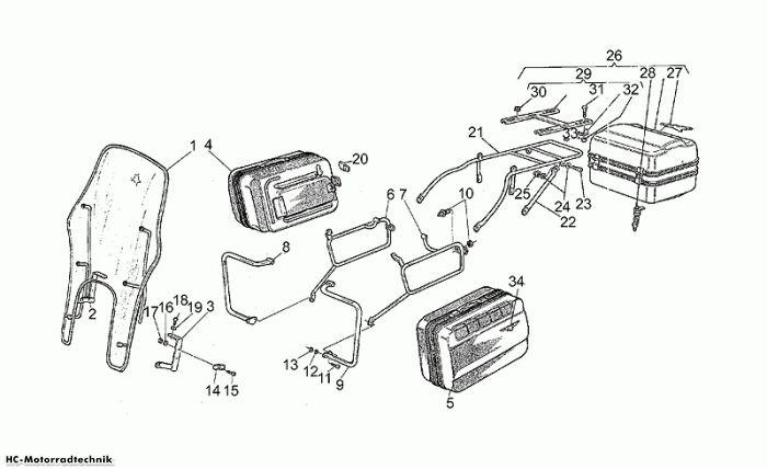 Moto Guzzi Taschenset-Windschutzsch. California II 1000