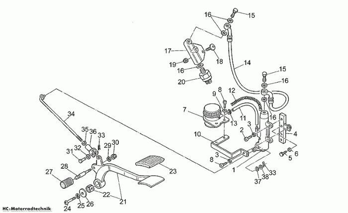 Moto Guzzi Hinterradbremspumpe California EV 1100