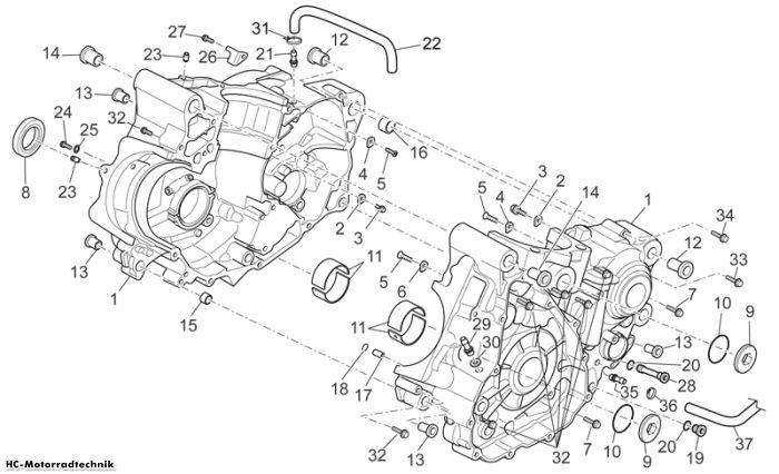 Aprilia Kurbelwellengehäuse I SXV Supermotard 450/550