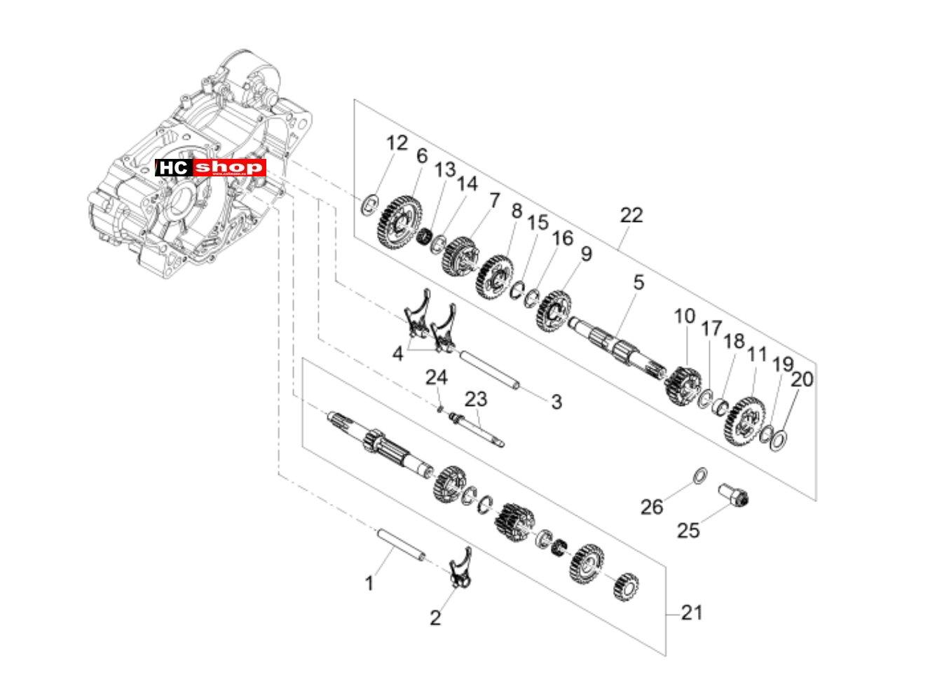 Aprilia Tuono 125 4T E4 ABS Motor Schaltgetriebe Zahnräder