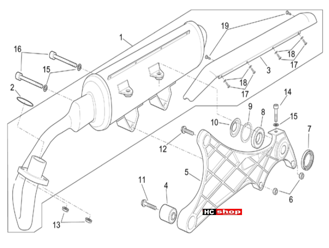 Aprilia Scarabeo E2 125-200 Rahmen Auspuffgruppe