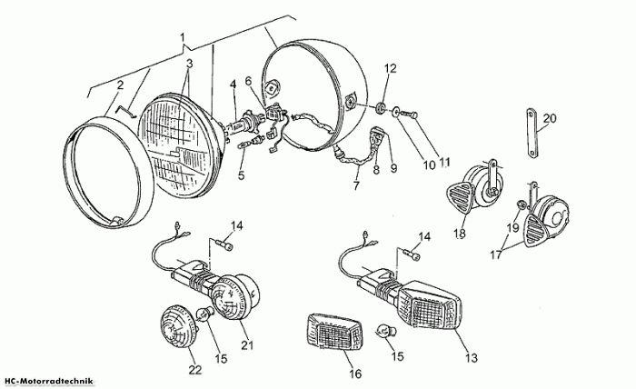 Moto Guzzi Scheinwerfer-Hupe California III Iniezione 1000