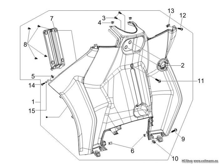 Piaggio Vorderes Handschuhfach-Schild-Rückseite MP3 125 ie