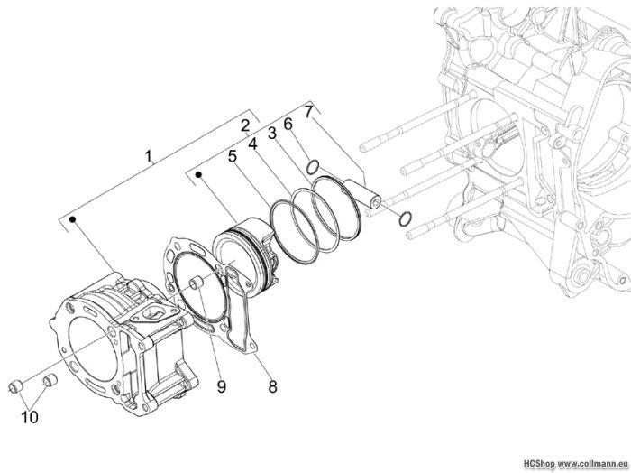 Piaggio Einheit Zylinder-Kolben-Kolbenbolzen MP3 125 ie