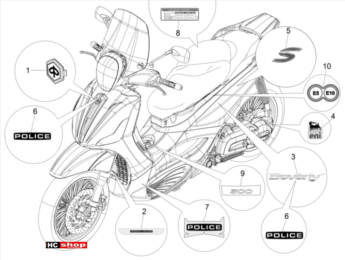 Piaggio Beverly 300 ABS Fahrgestell Plaketten