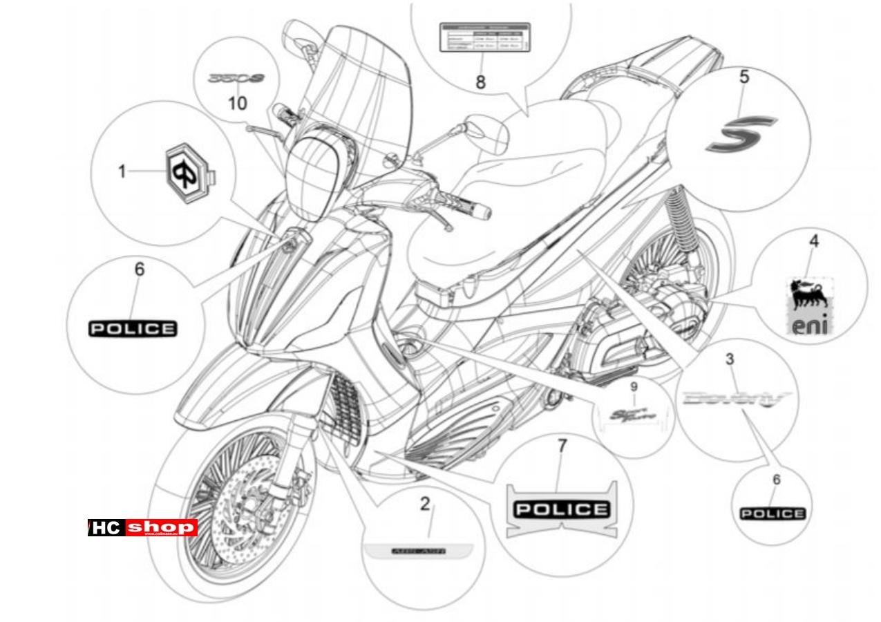 Piaggio Beverly 350 E4 Sport Touring Fahrgestell Plaketten