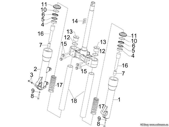 Piaggio Gabelkomponenten (Kayaba) Beverly Cruiser 500