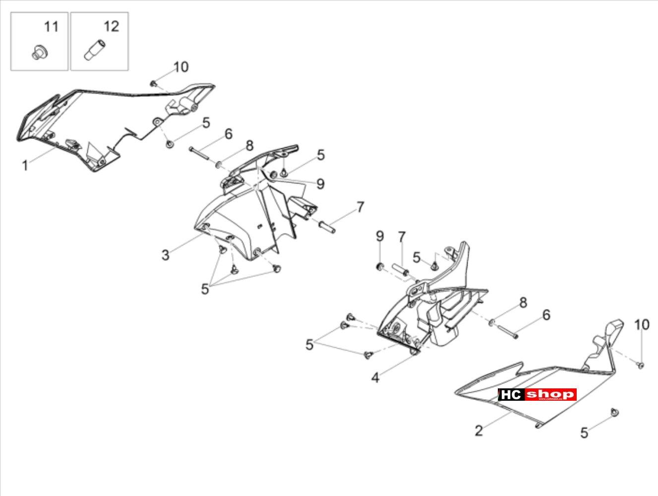 Aprilia Tuono 125 4T E4 ABS Aufbau Seitenverkleidung