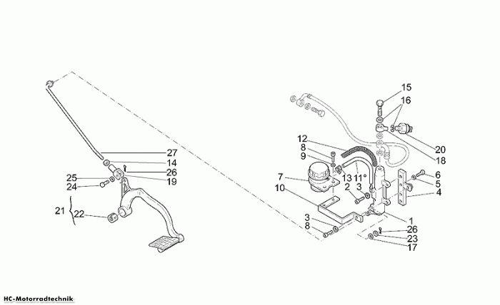 Moto Guzzi Hinterradbremspumpe California Jackal 1100
