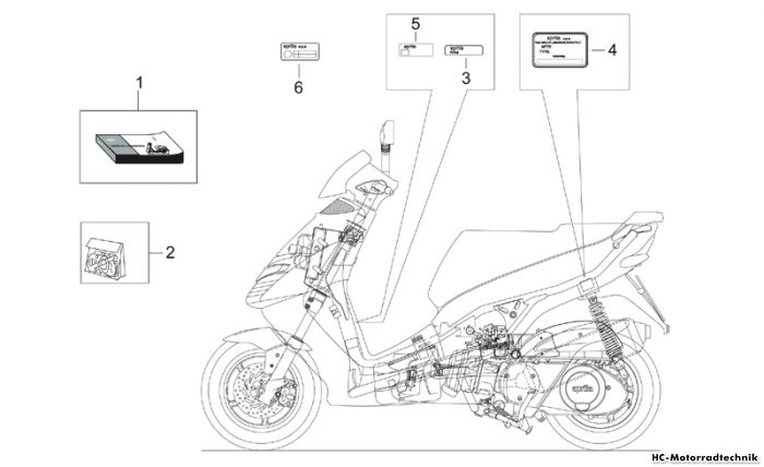 Aprilia Aufkleber-Deko Leonardo ST eng. Yamaha 250