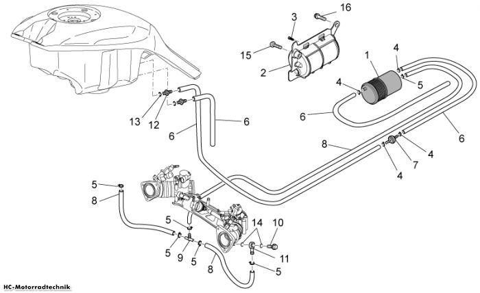Moto Guzzi Benzindampfrückf.-Anlage Griso V IE 1100