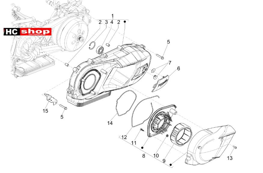 Piaggio Medley 125 iGet ABS Motor Kurbelwellendeckel
