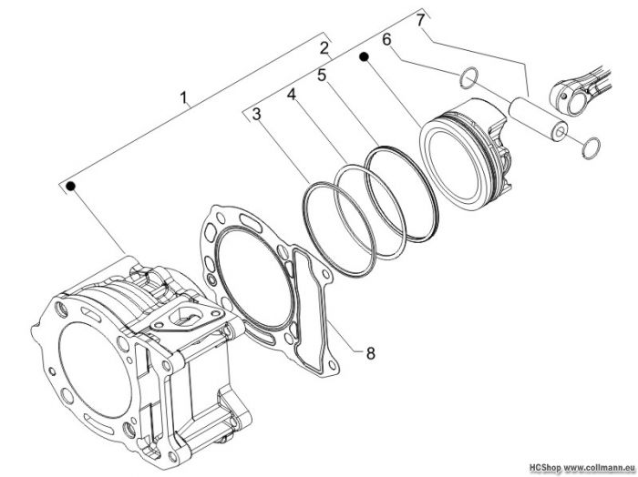 Piaggio Einheit Zylinder-Kolben Beverly 125 Tourer