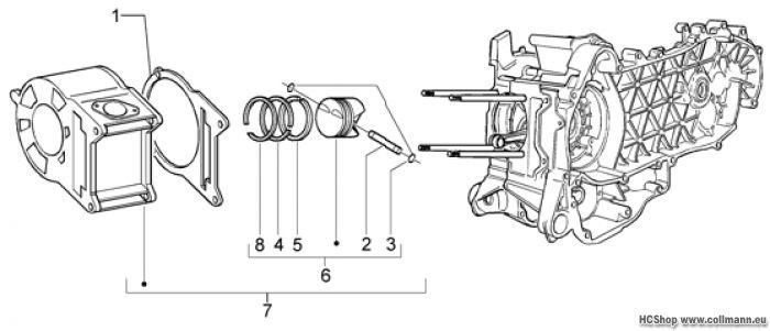 Piaggio Gruppe Zylinder-Kolben-Kolben X9 125 Evolution