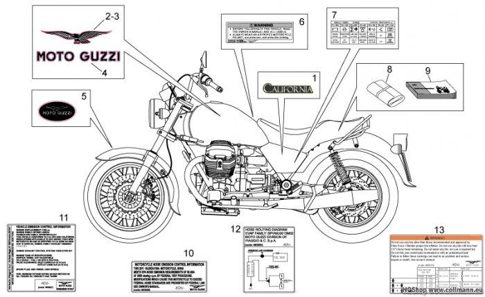 Moto Guzzi Aufkleber-Deko California Aquila Nera 1100
