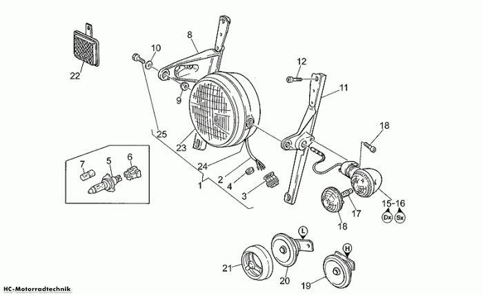 Moto Guzzi Scheinwerfer-Hupe California EV 1100