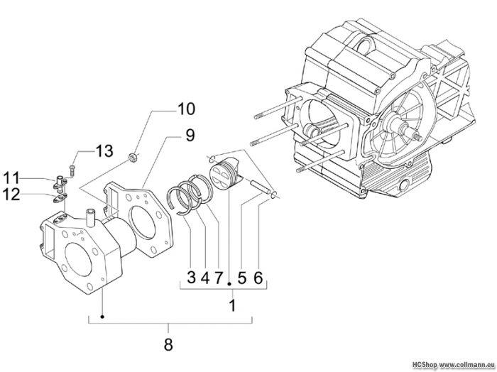 Piaggio Einheit Zylinder-Kolben Beverly Cruiser 500