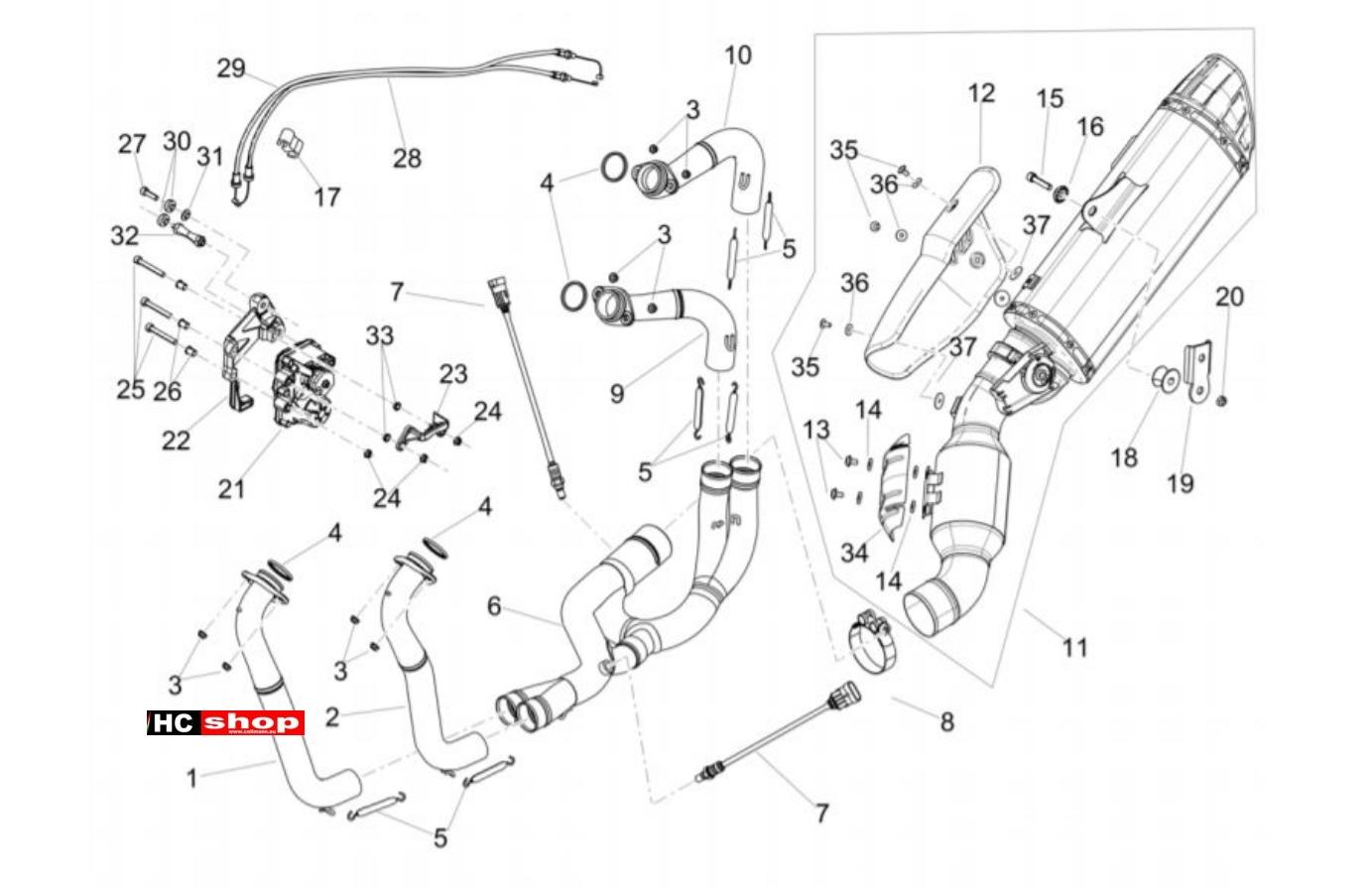Aprilia RSV4 1100 Racing Factory E4 ABS Motor Auspuffrohr