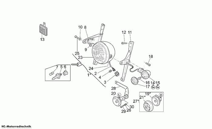 Moto Guzzi Scheinwerfer-Hupe California Jackal 1100