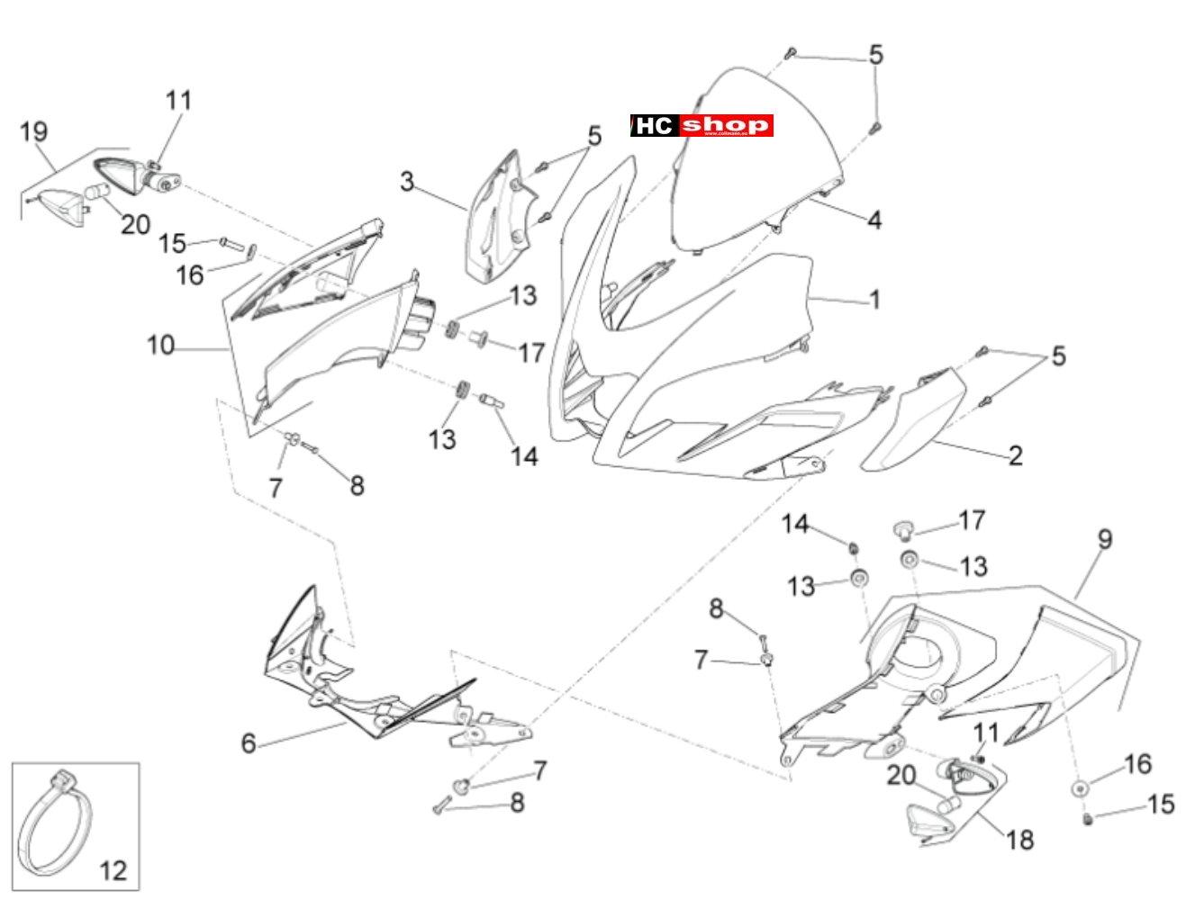 Aprilia Tuono V4 1100 RR E4 ABS Rahmen u. Aufbau