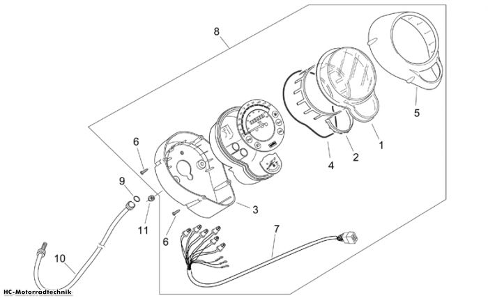 Aprilia Instrumententafel Mojito Custom (Piaggio) 50