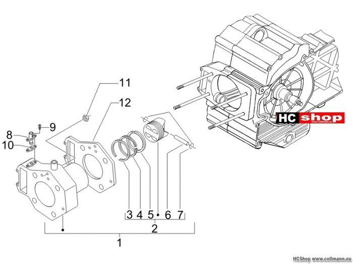 Piaggio Einheit Zylinder-Kolben-Kolbenbolzen MP3 400Sport