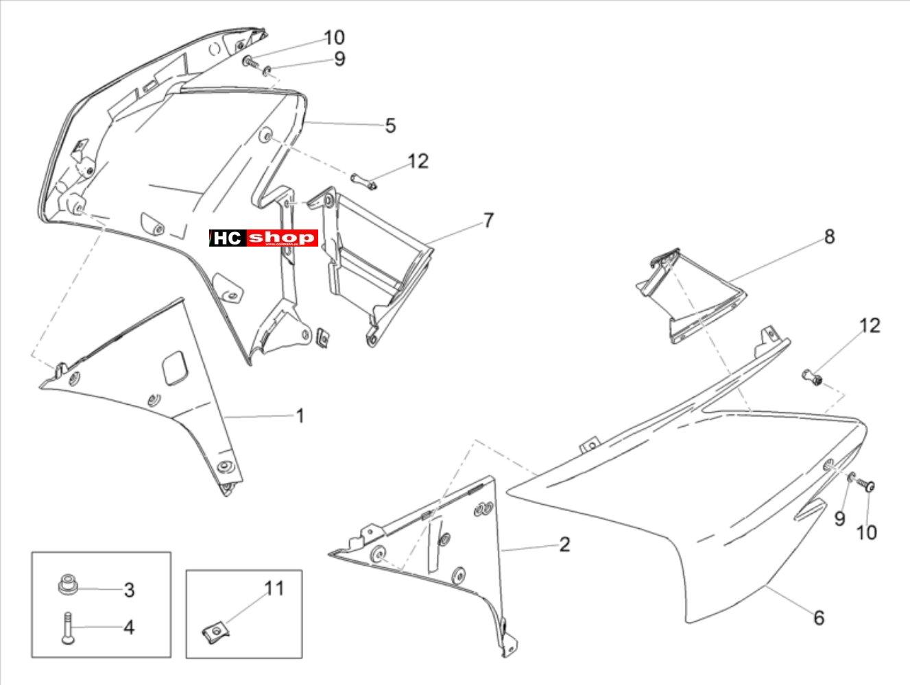 Aprilia RSV 4 1000 RF E4 ABS Aufbau Seitenverkleidung
