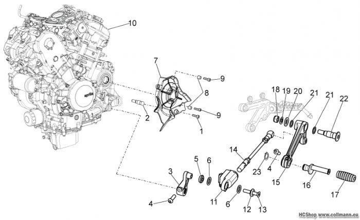 Aprilia Motor und Schalthebel Tuono 1000 V4 R STD/APRC