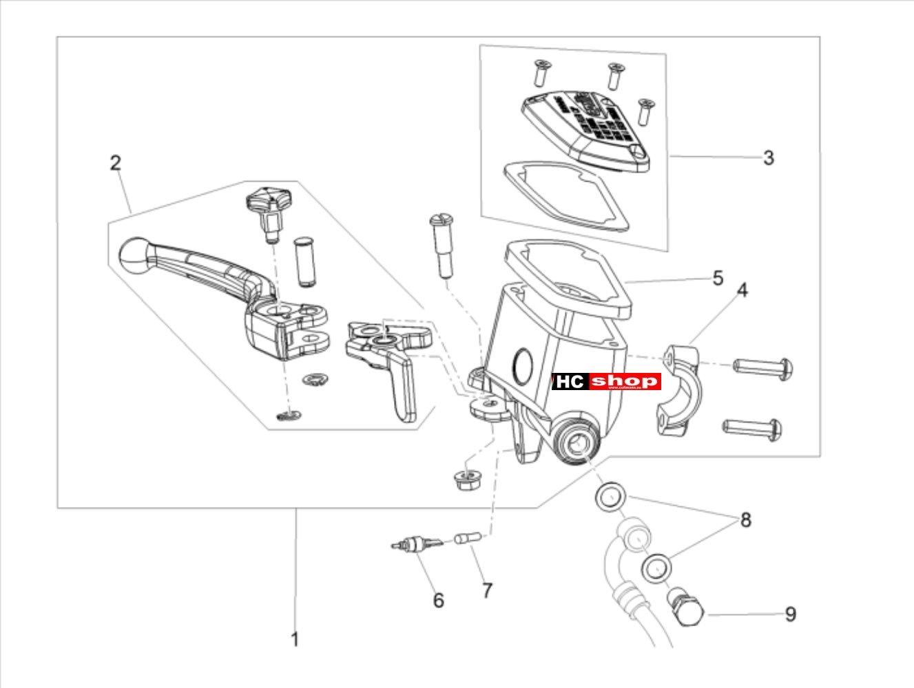 Aprilia Shiver 900 E4 ABS Bremsanlage Vorderradbremspumpe