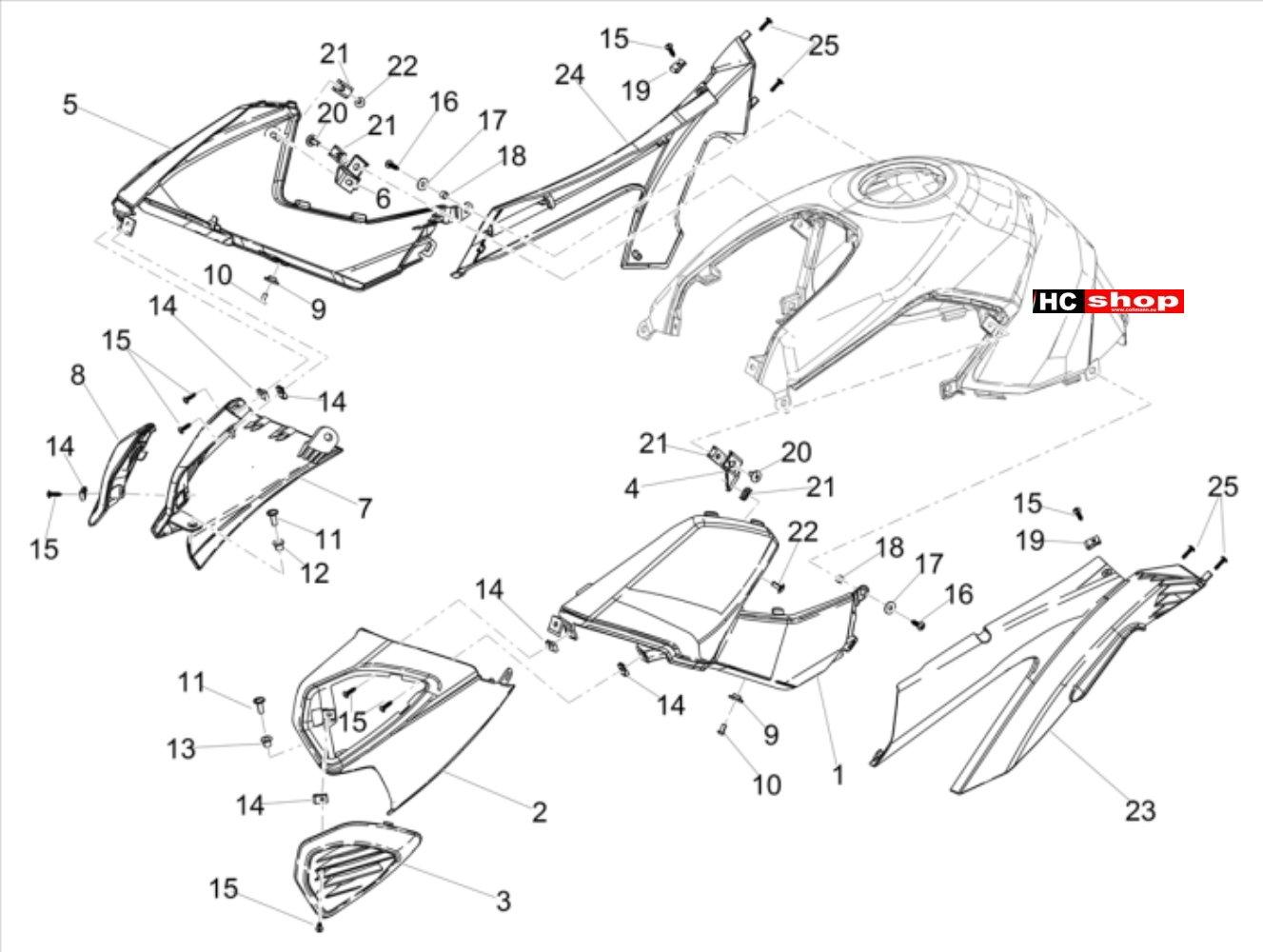 Aprilia Shiver 900 E4 ABS Aufbau Seitenverkleidung