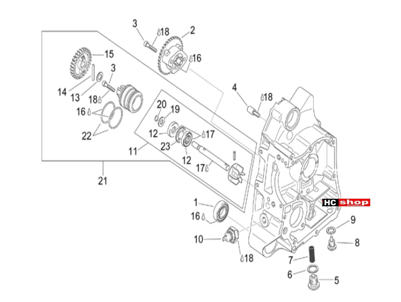 Aprilia Scarabeo E2 125-200 Motor Rechtes Halbgehäuse