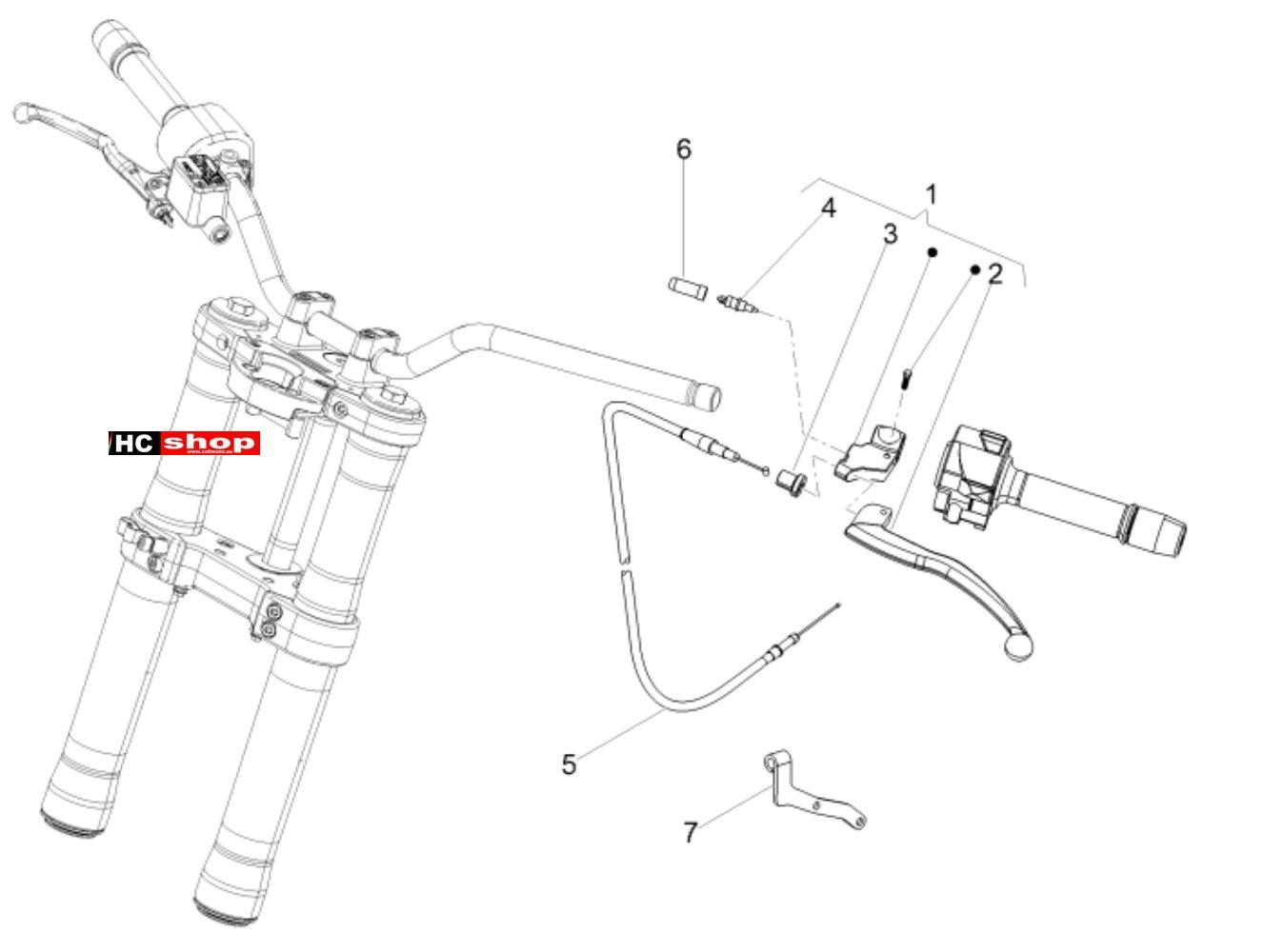Aprilia Tuono 125 4T E4 ABS Lenker Kupplungssteuerung