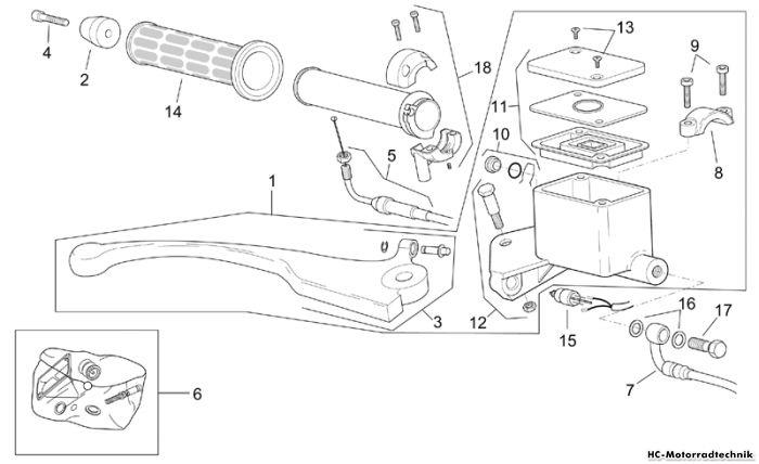 Aprilia V-Bremspumpe Leonardo eng. Minarelli 250/300