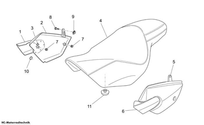 Moto Guzzi Sitz-Mittlerer aufbau Nevada Classic IE 750