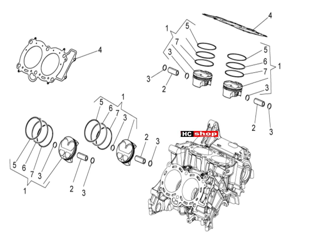 Aprilia Tuono V4 1100 Factory E4 ABS Motor Zylinder Kolben