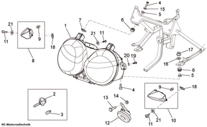 Moto Guzzi Frontscheinwerfer/Hupe Stelvio 1200 NTX ABS