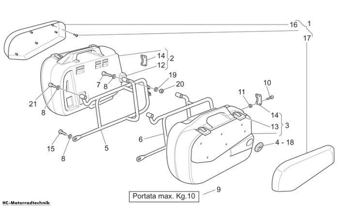 Moto Guzzi Side cases California Sto./Tour PI Cat 1100