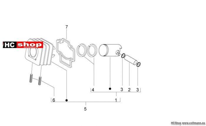 Aprilia Motard 50 Einheit Zylinder-Kolben-Kolbenbolzen