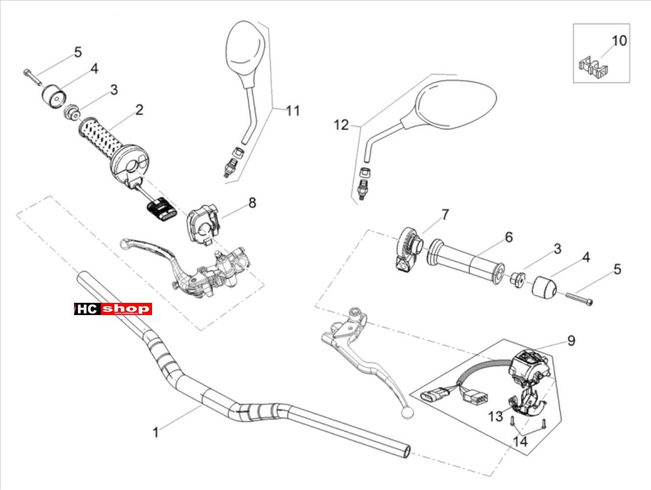 Aprilia Tuono V4 1100 Factory E4 ABS Lenker Schaltung