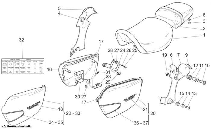Moto Guzzi Sitz-Mittlerer aufbau California Alum 1100