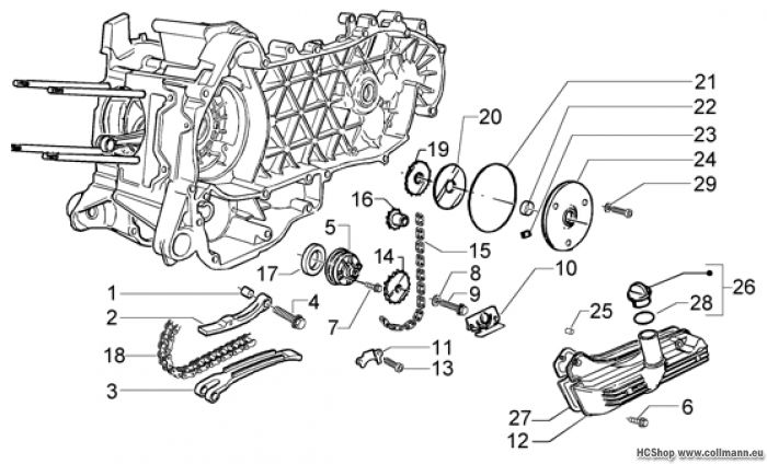 Piaggio Einheit pumpe-kurbelgehäuse öl X9 125 Evolution
