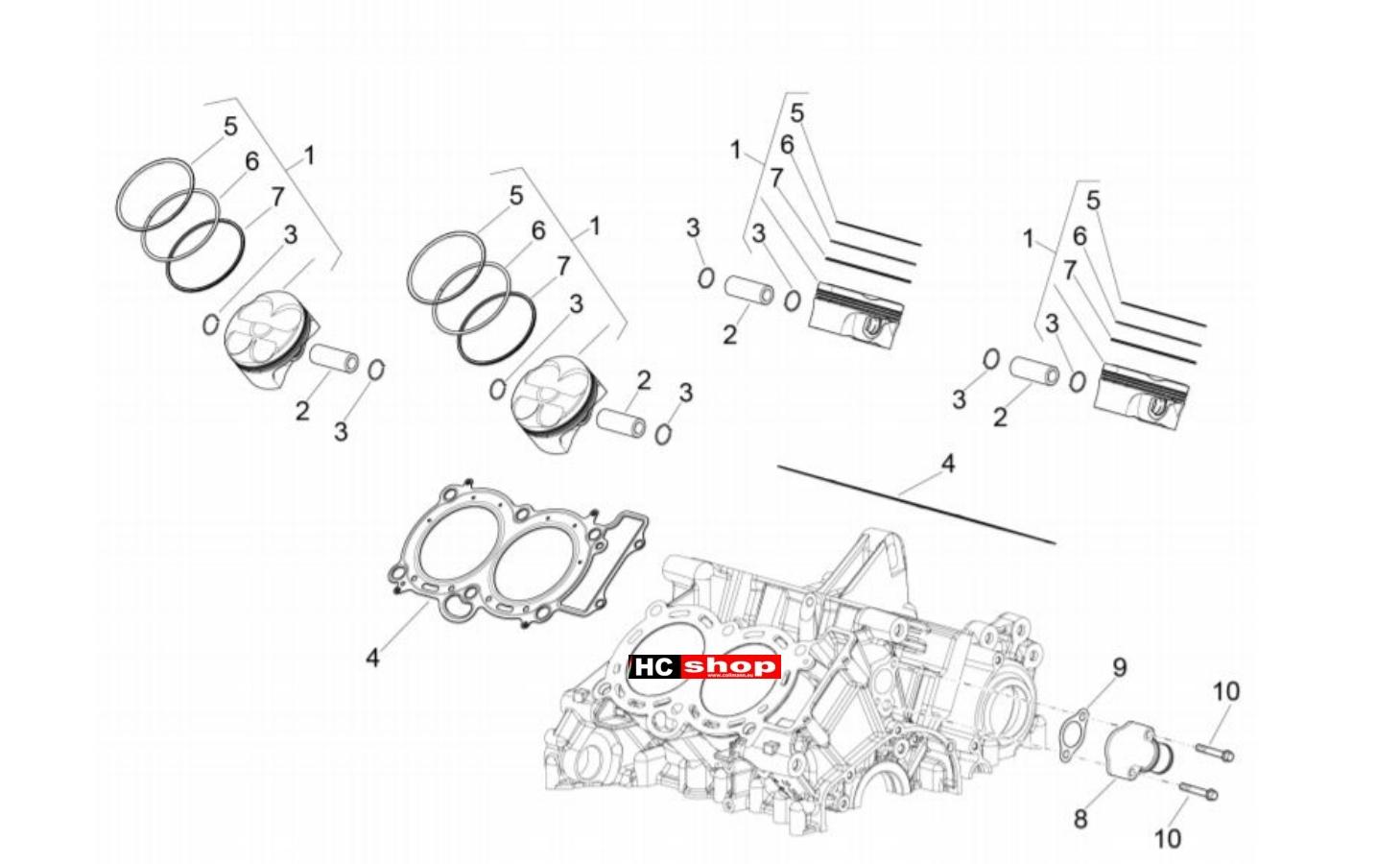 Aprilia RSV4 1100 Racing Factory E4 ABS Motor Zylinder